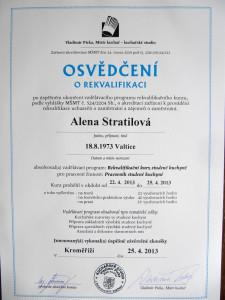 Osvědčení o rekvalifikaci -  Alena Stratilová